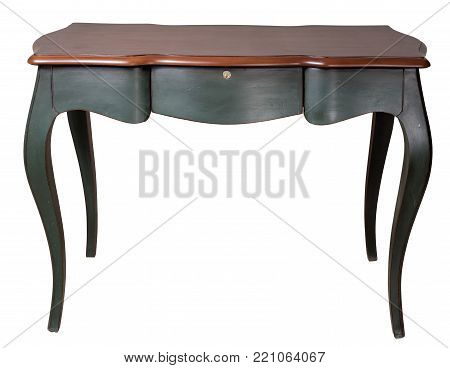 Vintage Furniture - Retro wooden desk table with dark green legs and three drawers isolated on white background including clipping path