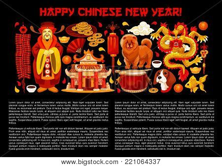 Happy Chinese New Year poster of traditional Chinese symbols for lunar year holiday celebration. Vector golden decorations and ornaments of dragon, coins and Chow dog, temple arch and China emperor