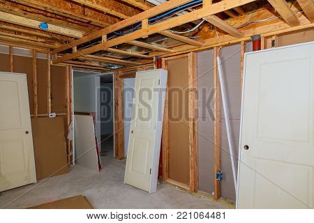 The frame building unfinished wood frame building with basic electrical wiring