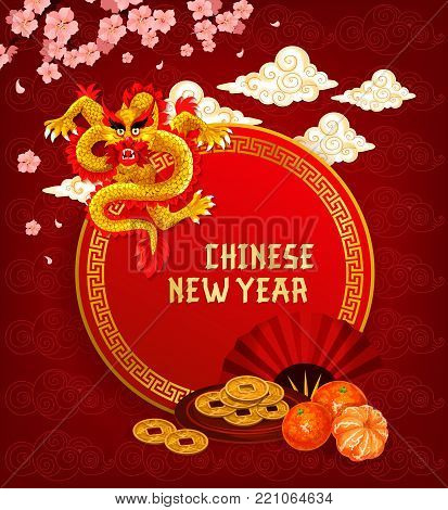 Chinese Lunar New Year holiday greeting card with dragon and asian golden ornament. Oriental Spring Festival dragon, lucky coin and fan, festive food and plum blossom with clouds on background
