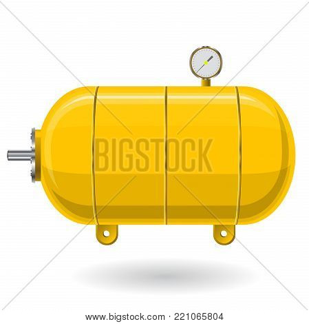 Yellow pressure vessel for water, gas, air. Pressure tank for storage of material, water. Valves, measuring unit, handles. Flatten icon illustration.