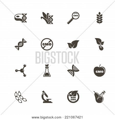 Gmo icons. Perfect black pictogram on white background. Flat simple vector icon.
