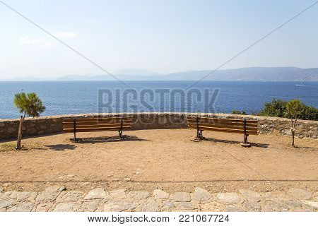 View At Seaside Viewpoint With Benches On Hydra Island In Greece