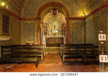 Ericeira Portugal. 22 December 2017. View of the Nossa Senhora da Boa Viagem chapel in Ericeira village. Ericeira, Portugal.