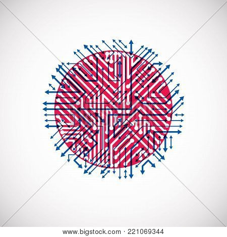 Futuristic cybernetic scheme with multidirectional arrows, vector motherboard blue and red illustration. Circular element with circuit board texture.
