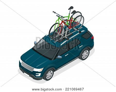 Isometric suv car with two bicycles mounted on the roof rack. Flat style vector illustration isolated on white background