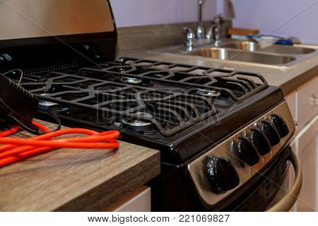Brand new gas stoves Close up image of dated gas stove Kitchen gas stove the kitchen