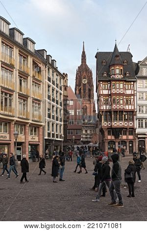 FRANKFURT, GERMANY-JANUARY 07, 2018: View from Roemerberg to the cathedral St. Bartholomew, in Frankfurt Main, Germany