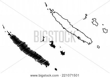 New Caledonia map vector illustration, scribble sketch New Caledonia Island