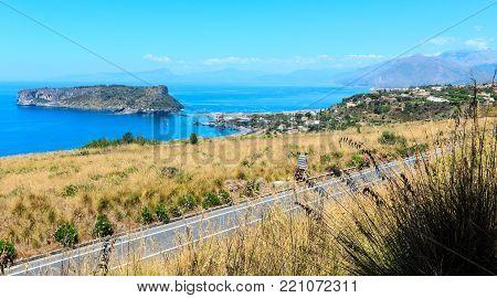 Beautiful Calabrian Tyrrhenian sea coastline landscape and small rocky island Isola di Dino, Praia A Mare, Calabria, Italy