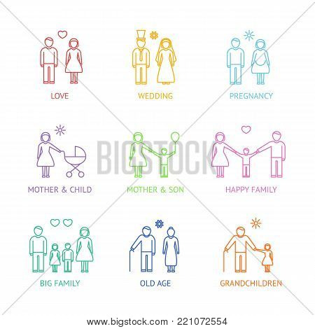Family Color Thin Line Icons Set Parent or Couple Love Care Symbol Isolated on White Background. Vector illustration