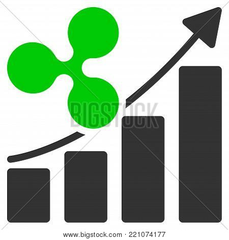 Ripple Growth Trend flat vector pictograph. An isolated icon on a white background.