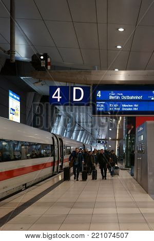 FRANKFURT, GERMANY - DECEMBER 31: A long-distance train is standing at the station Frankfurt Main airport on December 31, 2017 in Frankfurt.