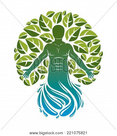 Vector illustration of human being deriving from water wave and made using natural green leaves. Wanderlust and countryside vacation idea, natural lifestyle.
