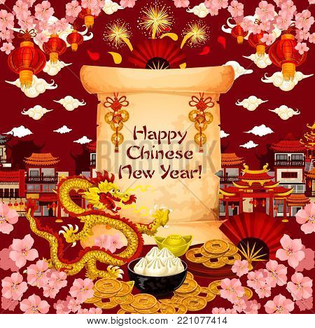 Chinese New Year wish text on paper scroll in cherry blossom flowers and fireworks. Vector golden dragon and China city, red lanterns or Chinese dumplings and clouds for lunar new year greeting card
