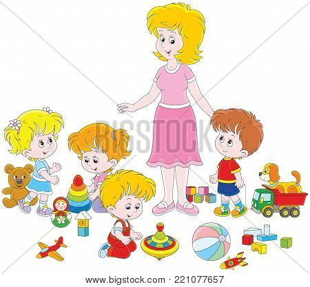 Little boys and girls playing with toys around their young and cute kindergarten teacher, a vector illustration in cartoon style