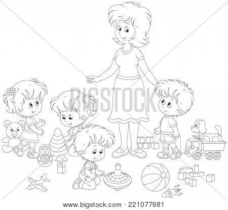 Little boys and girls playing with toys around their young and cute kindergarten teacher, a black and white vector illustration in cartoon style for a coloring book