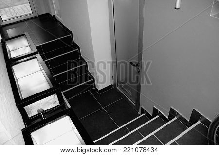 entrance to the basement in b/w .