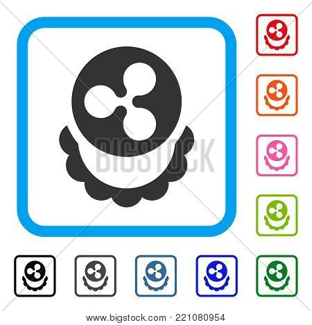 Ripple Coin Reward icon. Flat grey iconic symbol in a blue rounded frame. Black, gray, green, blue, red, orange color versions of Ripple Coin Reward vector. Designed for web and application UI.