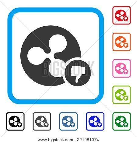 Ripple Coin Thumb Down icon. Flat grey pictogram symbol in a blue rounded rectangle. Black, gray, green, blue, red, orange color versions of Ripple Coin Thumb Down vector.