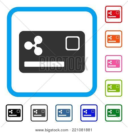 Ripple Credit Card icon. Flat gray pictogram symbol inside a blue rounded frame. Black, gray, green, blue, red, orange color variants of Ripple Credit Card vector.