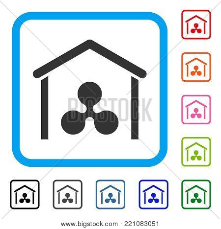 Ripple Garage icon. Flat gray pictogram symbol in a blue rounded rectangular frame. Black, gray, green, blue, red, orange color additional versions of Ripple Garage vector.