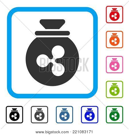 Ripple Harvest Sack icon. Flat grey iconic symbol in a blue rounded rectangular frame. Black, gray, green, blue, red, orange color additional versions of Ripple Harvest Sack vector.