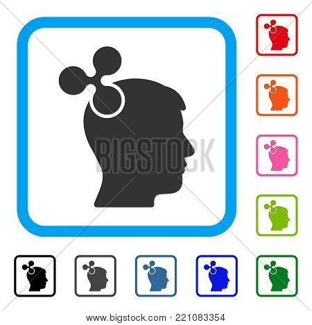 Ripple Imagination icon. Flat grey iconic symbol inside a blue rounded square. Black, gray, green, blue, red, orange color variants of Ripple Imagination vector.