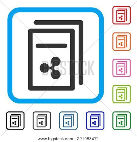 Ripple Invoices icon. Flat grey pictogram symbol in a blue rounded square. Black, gray, green, blue, red, orange color versions of Ripple Invoices vector. Designed for web and application UI.