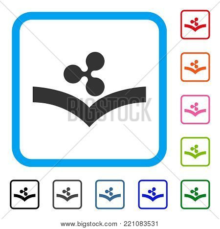 Ripple Knowledge icon. Flat gray iconic symbol in a blue rounded frame. Black, gray, green, blue, red, orange color additional versions of Ripple Knowledge vector. Designed for web and software UI.