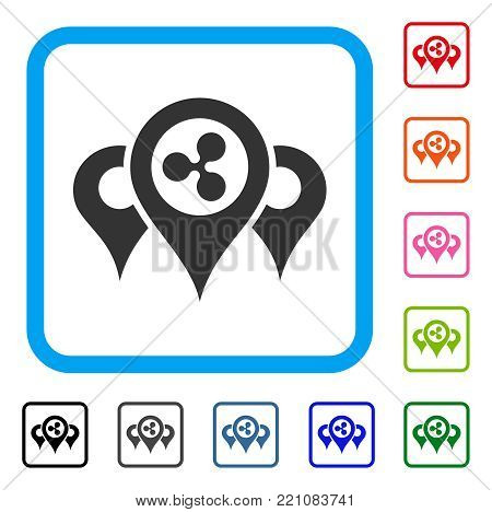 Ripple Locations icon. Flat grey pictogram symbol inside a blue rounded rectangular frame. Black, gray, green, blue, red, orange color additional versions of Ripple Locations vector.