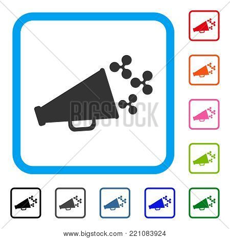 Ripple Megaphone icon. Flat grey iconic symbol inside a blue rounded rectangular frame. Black, gray, green, blue, red, orange color additional versions of Ripple Megaphone vector.