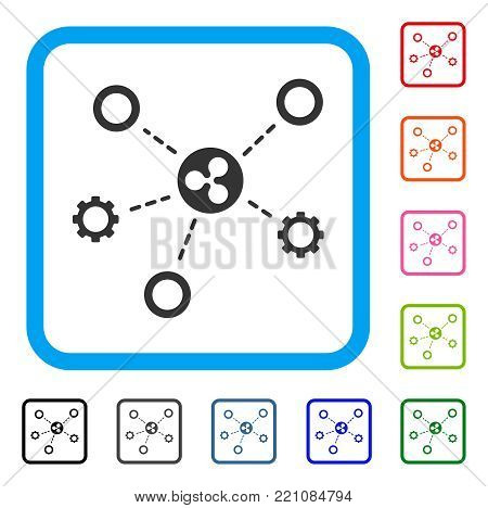 Ripple Network Structure icon. Flat gray iconic symbol in a blue rounded rectangle. Black, gray, green, blue, red, orange color additional versions of Ripple Network Structure vector.