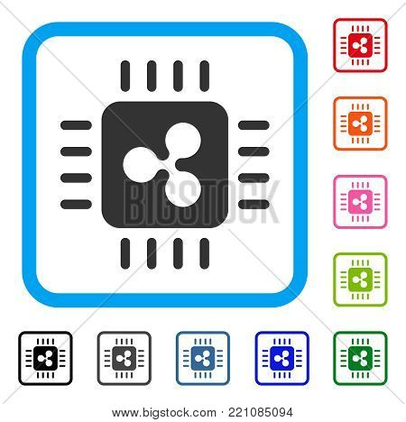 Ripple Processor icon. Flat grey pictogram symbol in a blue rounded frame. Black, gray, green, blue, red, orange color versions of Ripple Processor vector.