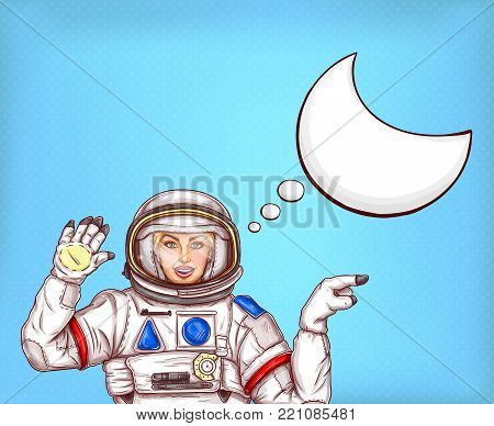 Vector astronaut girl in space suit waving her hand, sends a greeting and points finger off to side. Pop art concept illustration, woman cosmonaut with blank speech bubble on blue dotted background
