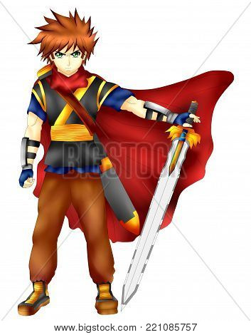swordsman hero of great strength and power . anime version