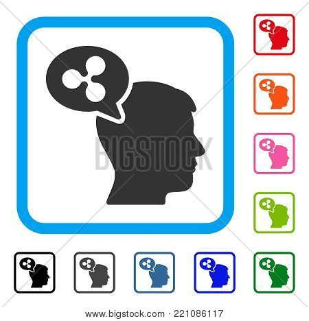 Ripple Thinking Balloon icon. Flat gray pictogram symbol inside a blue rounded frame. Black, gray, green, blue, red, orange color variants of Ripple Thinking Balloon vector.