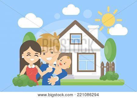 Family with house. Happy parents with children outdoors.