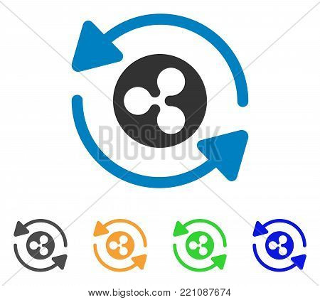 Refresh Ripple icon. Vector illustration style is a flat iconic refresh ripple symbol with gray, yellow, green, blue color versions. Designed for web and software interfaces.
