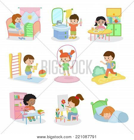 Kids everyday activities set children daily activity routine in childhood character active child eating or studying illustration sleeping girl or playing boy in childroom isolated on white background.