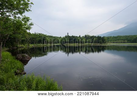 Beautiful quiet landscapes with reflecting waters of the Shiretoko 5-lakes, Shiretoko National Park, Hokkaido, Japan