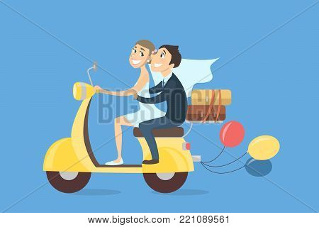 Just married couple riding scooter with baloons and luggage on white background.