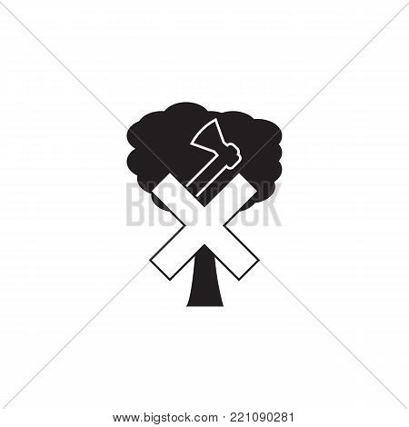 no cutting tree, prohibited sign icon on white background