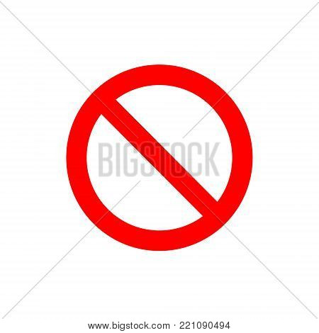 Ban vector simple sign. Red forbidding symbol