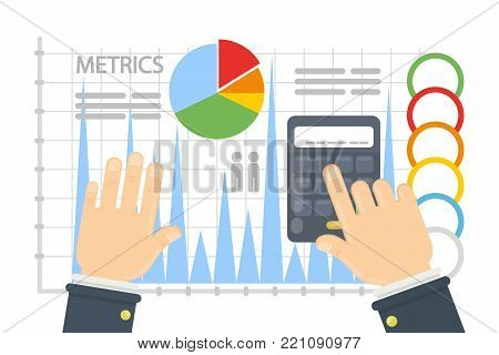 Metrics concept illustration. Data chart with calculator.