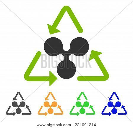 Ripple Recycling icon. Vector illustration style is a flat iconic ripple recycling symbol with grey, yellow, green, blue color variants. Designed for web and software interfaces.