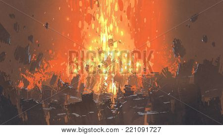 scene of apocalyptic explosion with many fragment of buildings, digital art style, illustration painting