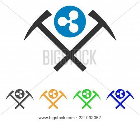 Ripple Mining Hammers icon. Vector illustration style is a flat iconic ripple mining hammers symbol with gray, yellow, green, blue color versions. Designed for web and software interfaces.
