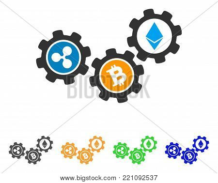 Cryptocurrency Conversion Gears icon. Vector illustration style is a flat iconic cryptocurrency conversion gears symbol with gray, yellow, green, blue color variants.