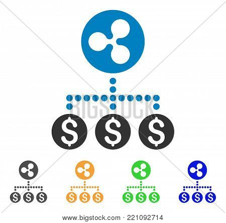 Dollar Ripple Relations icon. Vector illustration style is a flat iconic dollar ripple relations symbol with grey, yellow, green, blue color variants. Designed for web and software interfaces.